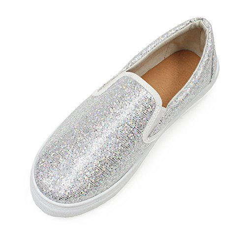 Slip-On Sneakers for Women, H2K 'FOUR SEASONS' Women's Casual Comfortable Fashion Glitter Bling Bling Shiny Slip-On Sneakers Comfy Cushion Footbed Shoes – Silver Size 7 1/2 M, 7.5 M [US Size]