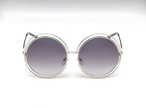 9e57ff76fe Sunglasses QDA Gafas de Sol Gafas de Sol de Metal de Rejilla Redonda (tamaño  Grande