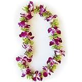 Hawaiian Lei - Fresh Single Strand Orchid Lei - Purple and Green