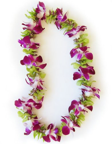Hawaiian Lei - Fresh Single Strand Orchid Lei - Purple and Green