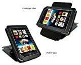 rooCASE Leather Case Cover with 22 Angle Adjustable Stand for Barnes and Noble NOOK Tablet / NOOKcolor Nook Color eBook Reader - MV Series Black
