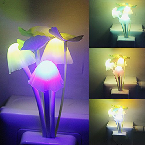 iTimo Color Changing Nursery Mushroom Night Light Plug In Led Wall Lamp With Dusk to Dawn Sensor For Kids Baby Sleeping