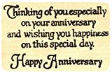 {Single Count} Unique & Custom (3 1/2'' by 3'' Inches) ''Thinking Of You, Happy Anniversary Quote'' Rectangle Shaped Genuine Wood Mounted Rubber Inking Stamp