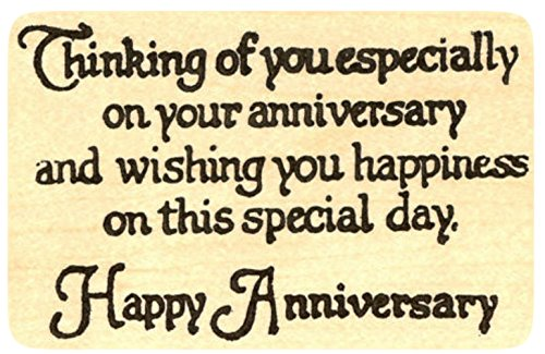 {Single Count} Unique & Custom (3 1/2'' by 3'' Inches) ''Thinking Of You, Happy Anniversary Quote'' Rectangle Shaped Genuine Wood Mounted Rubber Inking Stamp by mySimple Products