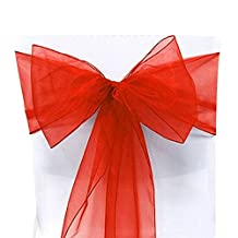 25 Organza Chair Cover Sash Bow Wedding Party Reception Banquet Decor (Red)