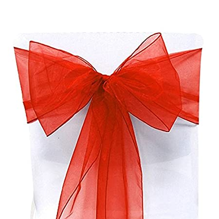 25 Organza Chair Cover Sash Bow Wedding Party Reception Banquet Decor (Red) Eynorm