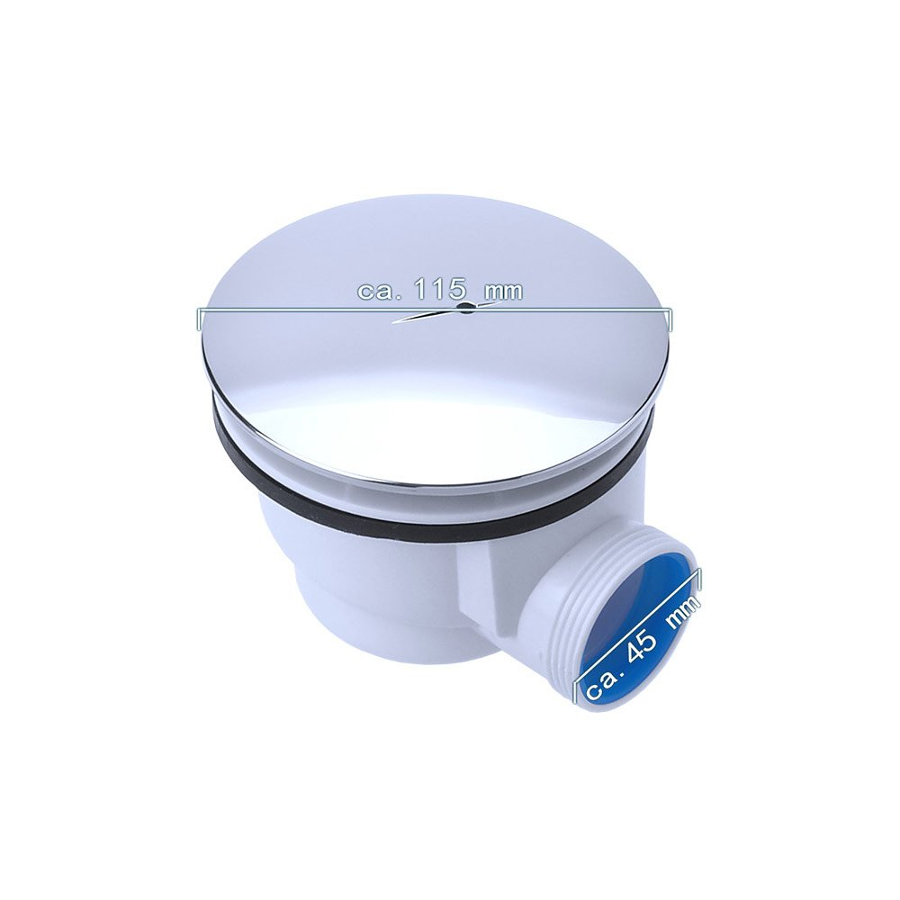 Ablaufgarnitur aus Acryl in Wei/ß Rechteckig DIN-Anschl/üsse f/ür bodenebene Montage geeignet Sogood Duschtasse Duschwanne Faro2W 75x120x4 flach inkl
