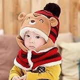 Yoyorule 2017 Cute Winter Baby Boys Girls Warm Woolen Coif Hood Scarf Caps Hats (Red)