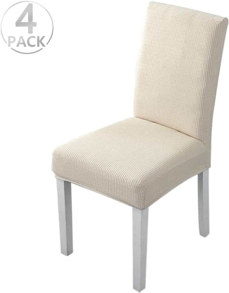 Dioxide Fundas para Sillas Pack de 4 Fundas Sillas Comedor, Fundas Elásticas Chair Covers Lavables Desmontables Cubiertas para Sillas Muy Fácil de Limpiar Duradera(Beige/Espesar,Paquete de 4)