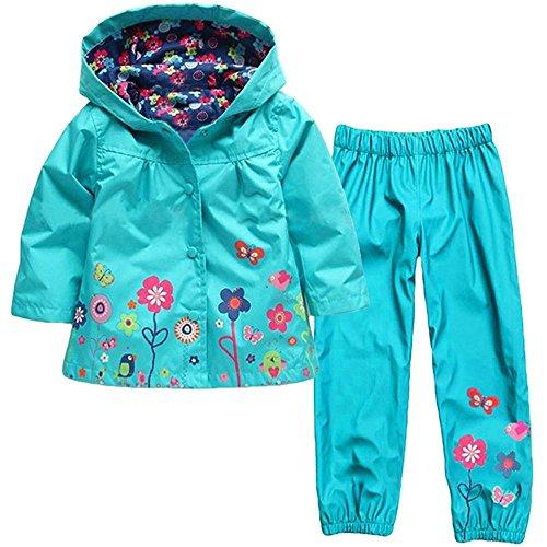 Wennikids Baby Girl Kid Waterproof Floral Hooded Coat Jacket Outwear Raincoat Hoodies Clothing Set XX-Large - Sleeve Hooded Coat