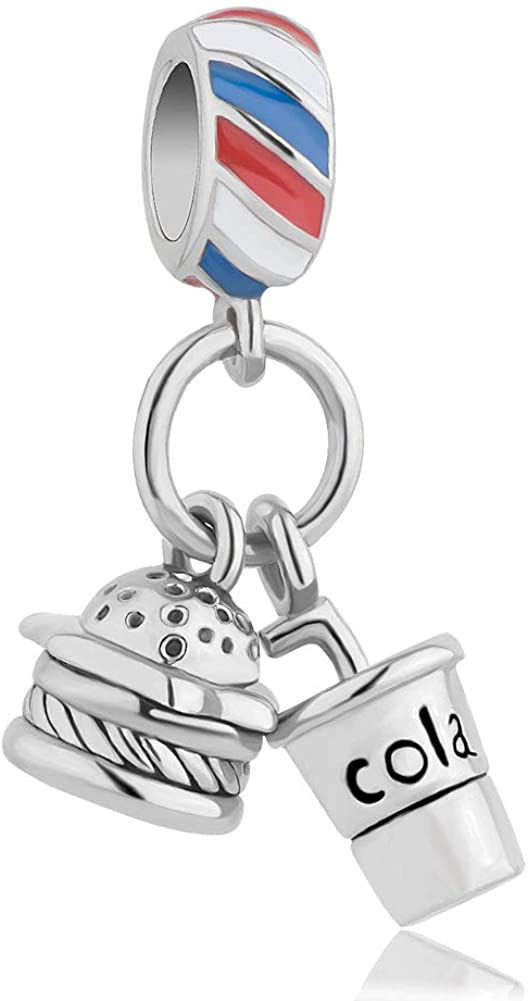 LovelyCharms Cola Burger Food Charm Dangle Bead for Bracelet