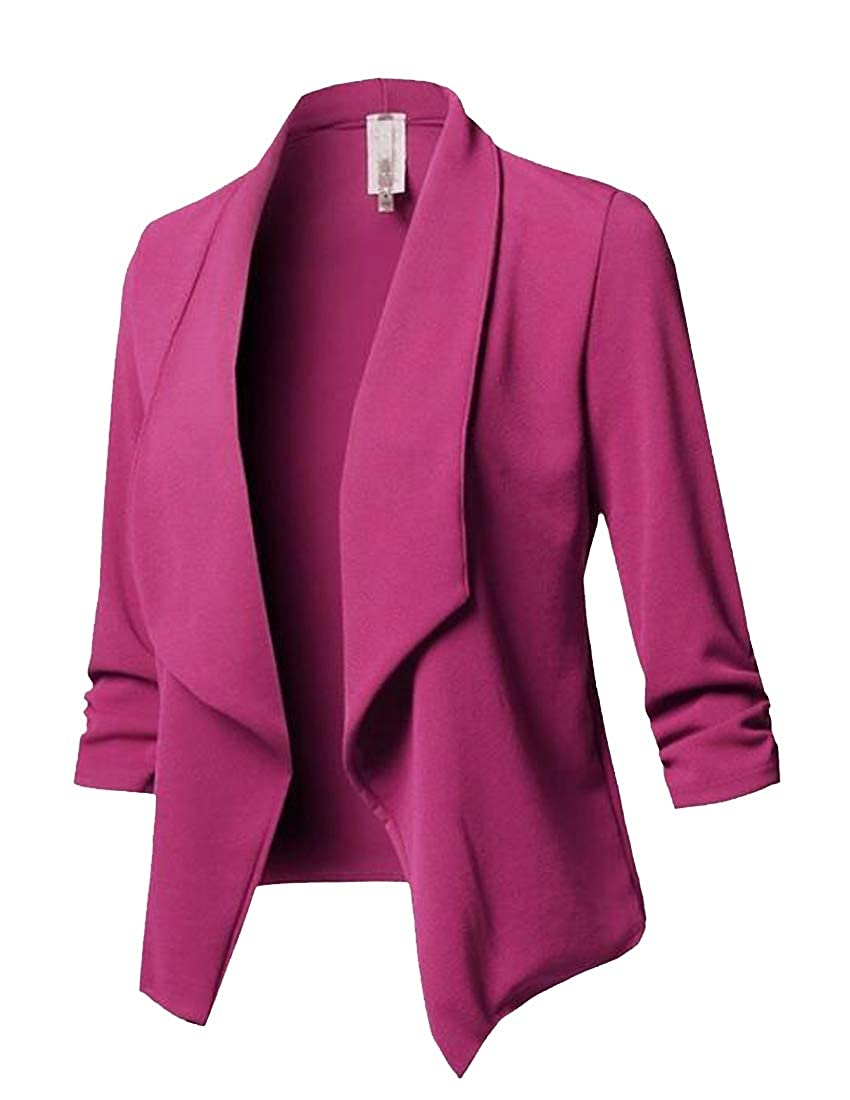 WAWAYA Women's Slim Fit Pure Color Solid Color Lapel Long Sleeve Blazer Jacket Coat