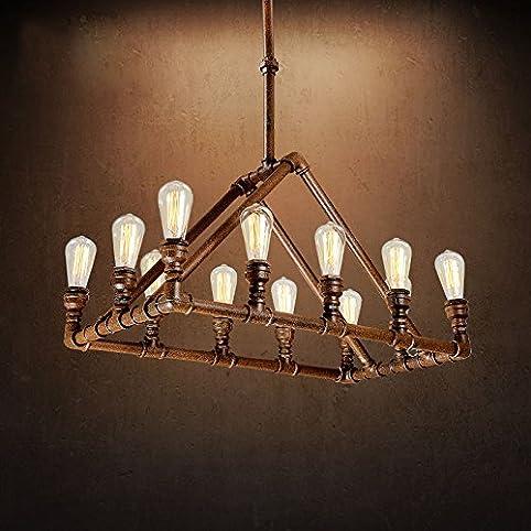 industrial pipe lighting. Industrial Retro Vintage Antique Pipe Chandelier - LITFAD 32.28\u0026quot; 1 Tier Rustic Copper Edison Ceiling Lighting