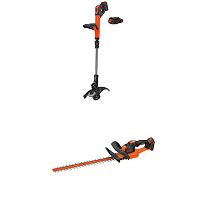 BLACK+DECKER LSTE525 20V MAX Lithium Easy Feed String Trimmer/Edger with 2  batteries and hedge trimmer