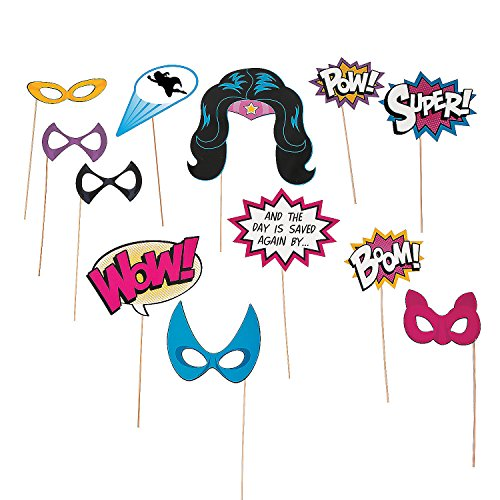 Fun Express - Superhero Girl Photo Stick Props for Birthday - Apparel Accessories - Costume Accessories - Costume Props - Birthday - 12 Pieces -