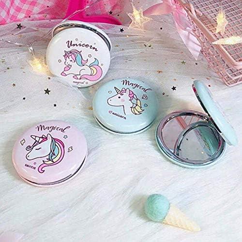 01 dyudyrujdtry Unicorno Burger Pieghevole Specchio Piccolo Vetro Specchio Cerchi Decorazione Riflettente Specchio per Decorazione Casa