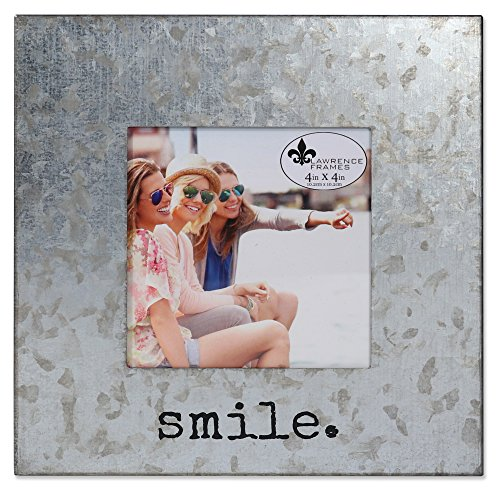 Lawrence Frames 4x4 Cooper Galvanized-Smile, Silver (Smile Picture Frame)