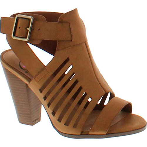 SODA Delicious Yummy Cutout Stacked Heel Sandal,Tan Pu,9