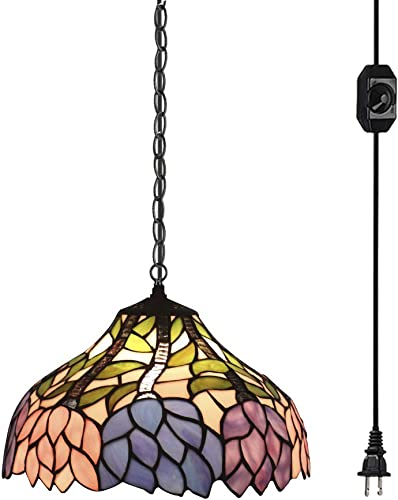STGLIGHTING Colorful Baroque Handmade Glass Shade Tiffany Style Antique Chandelier with 20ft Plug-in UL Dimmer Switch Cord with Iron Chain Decorative Pendant Light Bulb Not Included