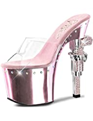 Summitfashions Shiny Pale Pink Heels with Rhinestones and Revolver Shaped 7 Inch Heels