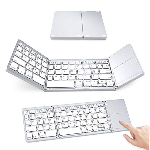 XUEME Folding Keyboard, Portable Aluminum Keyboard Three Folding with Touch pad Suitable for Laptop/Desktop/Smart Phone/Tablet