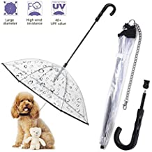 TC Collection Dog Umbrella Pet Umbrella Puppy Umbrella for Small Dogs with Leash Assembly Puppies Protect from Rain Snow Wet Weather Protective Clear Transparent Easy View Folding
