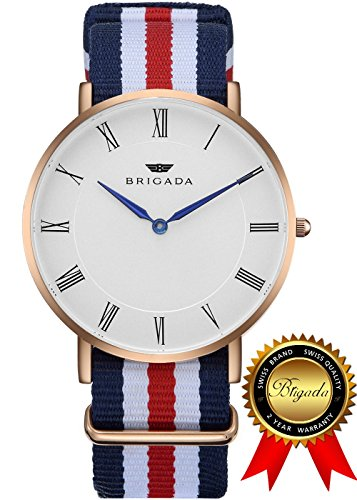 BRIGADA Swiss Watches for Men Women, Minimalist Business Casual Waterproof Watch for Men Women, Great Gift for Lover, Families, Friends or Yourself