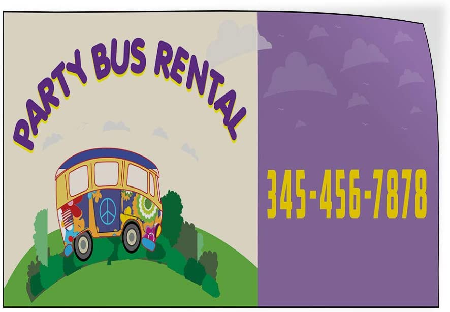 Custom Door Decals Vinyl Stickers Multiple Sizes Party Bus Rental Phone Number Purple Business Rental Outdoor Luggage /& Bumper Stickers for Cars Purple 27X18Inches Set of 5
