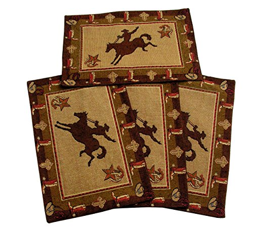 Cowboy Bronco Placemats Set of 4 by RaaKha, Brown, 13x19 inches -