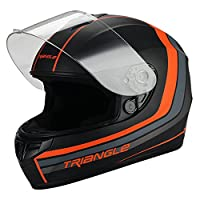 Triangle Full Face Matte Black/Orange Street Bike Motorcycle Helmet [DOT] (Small) from Jinhua Bokai Motorcycle Fitting co.,LTD