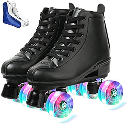 Amazon Com Roller Skates For Women Men High Top Pu Leather Roller Skates Shiny Four Wheels Roller Skates White Black Roller Skates For Girls Boys Black Flash Round Shoe Bag 34 Sports