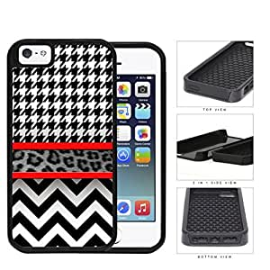 Black And White Hounsdtooth Animal Print Chevron 2-Piece Dual Layer High Impact Rubber Silicone Cell Phone Case Apple iPhone 5 5s