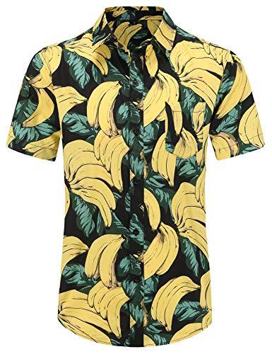 PEGENO Men's Flower Casual Button Down Short Sleeve Hawaiian Shirt (3X-Large, 05 Banana)
