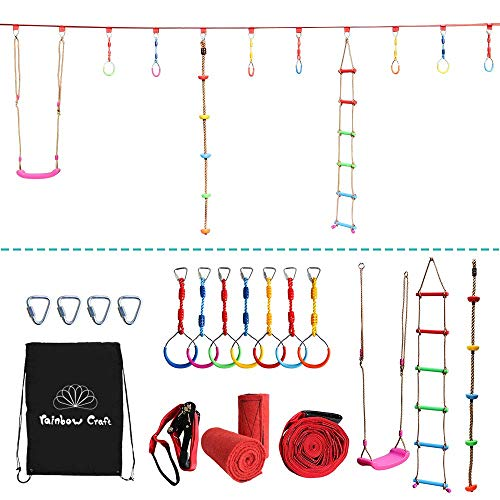 Rainbow Craft Hanging Obstacle Course for Kids - Portable 50' Ninja Slackline Monkey Bar Kit with 10 Hanging Obstacles Including Gym Ring, Climbing Ladder, Climbing Ropes and Swing - Kit Monkey Bar