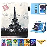 7.5-8.5 Inch Tablet Universal Case, JZCreater Stand Wallet Case for iPad Mini 1/2/3/4 /Samsung Galaxy Tab 8.0 Series/F ire HD 8 2016 2017 2018 and More 7.5'-8.5' inch Table, Paris Tower