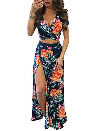 Aro Lora Women's Sexy V Neck Floral Printed Side Slit Two-Piece Maxi Dress - Womens Dress 2 Piece