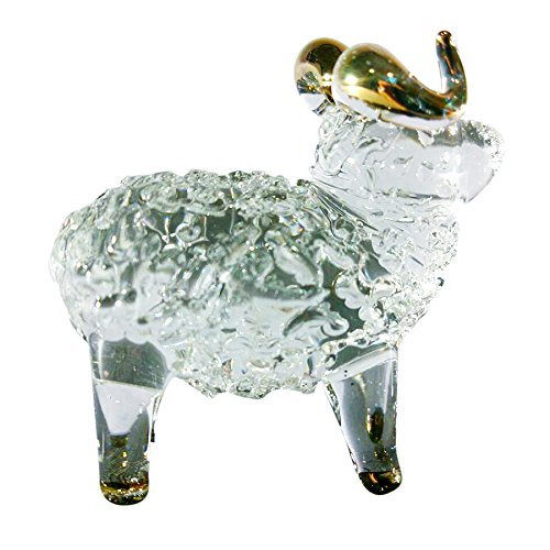 Sansukjai Sheep Figurines Animals Hand Blown Glass Art Gold Trim Collectible Gift Decorate