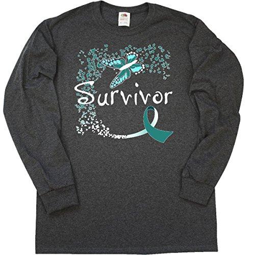 Cervical Cancer Support (inktastic Cervical Cancer Long Sleeve T-Shirt Medium Retro Heather Black 2b43c)