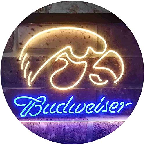 TeroLED Budweiser University of Iowa Colorful LED Neon Sign Blue and Yellow w12 x h8