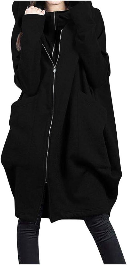 HebeTop Women's Loose Coat Zip Hoodie Cardigan Jacket Long Coat with Pocket