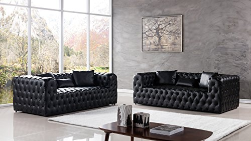 - American Eagle Furniture 2 Piece Gainsborough Collection Complete Leather Tufted Living Room Sofa Set, Black
