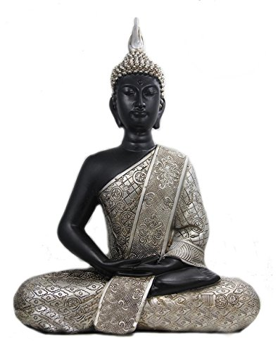 DharmaObjects Silver Tone 11 Inches Thai Buddha Meditating Peace Harmony Statue