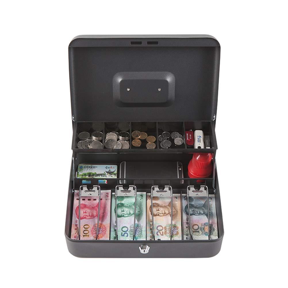 Nero OUNONA Chiave Cassiere Box Cash Box Lock Cash Box salvadanaio in Metallo Mini Serratura Sicuro Cash Register Cassetta portavalori con Vassoio Portamonete per spiccioli