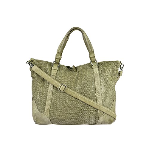 Reptile´s House Shopper Petalo Handtasche Damen Leder Shopping Bag Pistazie Grün