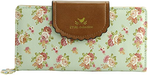 Fabric Wallet Clutch - ETIAL Women's Vintage Floral Zip Wallet Faux Leather Card Holder Green