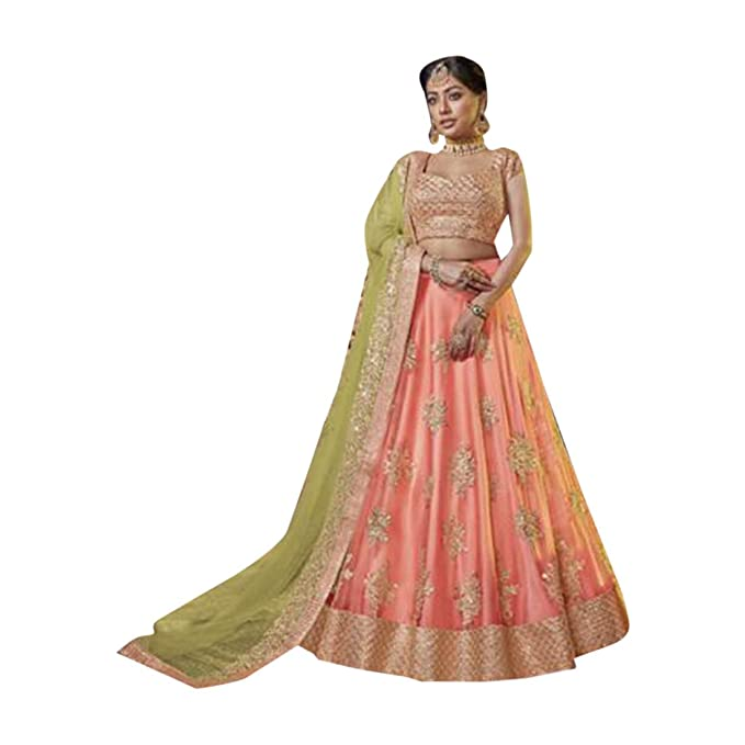 e603c238c Peach Indian Traditional Ethnic Party Designer Net Lehenga choli Dupatta  Semi-stitched Women dress 7826: Amazon.ca: Clothing & Accessories