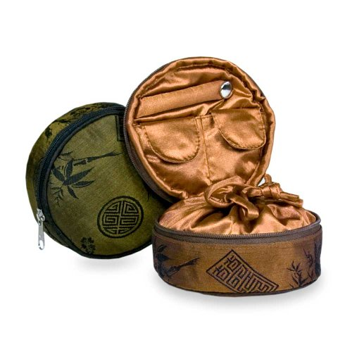 Red Blossom Women's Silk Jacquard-Travel Jewelry Case