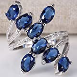 Women 925 Silver Blue Sapphire Gemstone Size 6-10 Wedding Bridal Engagement#by pimchanok shop (7)