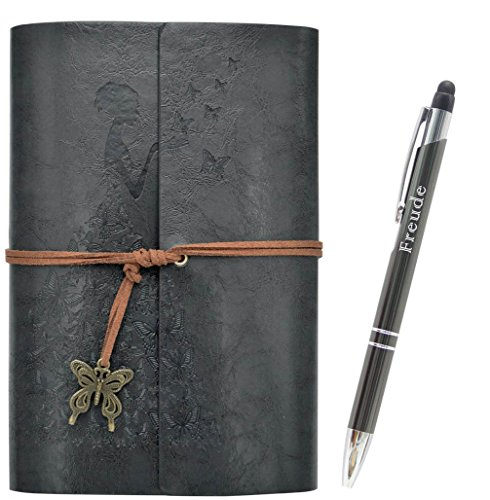 Lined Writing Journals Notebook (Value Pack) Refillable Leather Women's Notebook Journals, A6(7×5inch) Travel Diary, Best Gift for Teens Girls and Boys (Dark Gray,Lined Journals)