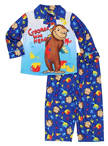 Long Sleeve Coat Style Pajamas (Curious George Little Boys Flannel Coat Style Pajamas (4T, Paint)